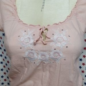 Juniors Candies Medium Top with Embroidery